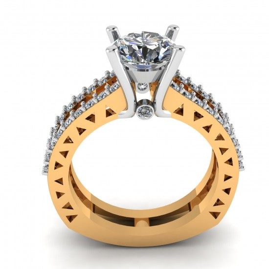 Artificial Diamond 14K Gold Solitaire Ring