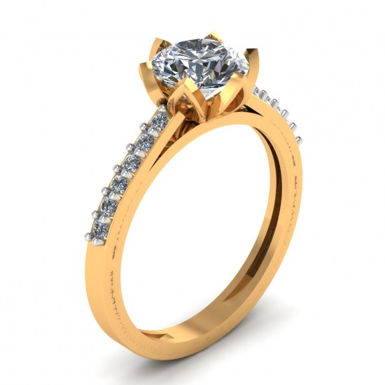 14K Gold Artificial Diamond Solitaire Ring