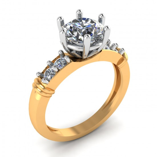 Yellow 14K Hallmarked Gold Solitaire Ring